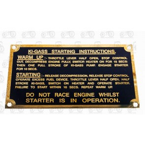 Starting Instruction Plate T20 Diesel