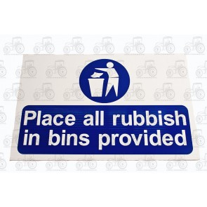 Sign:Rubbish In Bins 450 X 300 mm - Plastic